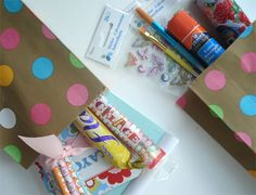 Surprise Bags! For those long flights or car trips that seem endless, be prepared with these personalized bags full of activities and treats to reward good behavior during the trip.