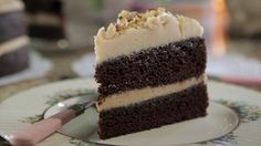 Chocolate and Espresso Layer Cake with Peanut Butter Icing Recipe : Damaris Phillips : Food Network