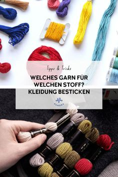 Embroidering textiles - which embroidery thread can you use? - Pumora Which yarn for which fabric embroider clothing Hippie Bracelets, Macrame Bracelets, Yoga Bracelet, Embroidered Towels, Embroidered Clothes, Knooking, Pink Eyes, Crafts To Do, Embroidery Thread