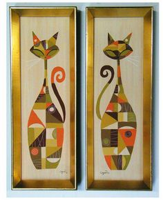 Mid Century cats... LOVE these!