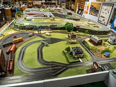 The view of my slot car layout from just inside the door of my slot car room