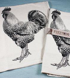 Black Rooster Hand-printed Flour Sack Tea Towels