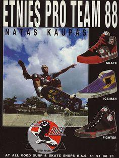 #Vintage #Etnies Natas Kaupas Old School Skateboards, Vintage Skateboards, Grunge, Skateboard Fashion, Thrasher Magazine, Skate Girl, Logo Sticker, Roller Skating, Skate Shoes