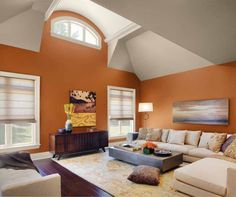 i think this might be my living area color combo i love pumpkin walls with - Color Of Walls For Living Room