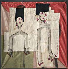 """Antonio Marras, """"Donne"""", tecnica mista su bandiera, cm 143x149, dal catalogo della mostra """"Novanta artisti per una bandiera"""", ©2013 corsiero editore"""