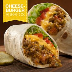 Burritos Check out this great recipe from French's: Cheeseburger Burritos!Check out this great recipe from French's: Cheeseburger Burritos! Best Dinner Recipes, Great Recipes, Incredible Recipes, Summer Recipes, Popular Recipes, Quick Weeknight Meals, Easy Meals, Cheese Burger, Good Food