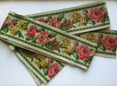 Vintage upcycled fabric upholstery trim floral border set of two, 230 cm x 10 cm/90.6 inch x 3.9 inch, 260 cm x 10 cm/102,4 inch x 3.9 inch