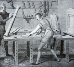 """A 16th-century cabinet maker's workshop. Detail of the altarpiece of the Gouda St. Joseph's guild, c. 1565."""