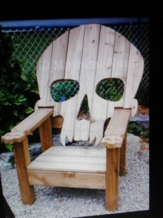 SKULL CHAIR , ADIRONDACK chair, yard furniture,  cedar , skeleton themed I NEED to buy this for my sister!!