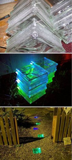 DIY Glowing Solar Walkway Id put the stepping blocks a little closer. Really interesting idea! DIY Glowing Solar Walkway Id Backyard Projects, Outdoor Projects, Garden Projects, Diy Projects, Landscape Lighting, Outdoor Lighting, Yard Lighting, Pergola Lighting, Garden Lighting Ideas