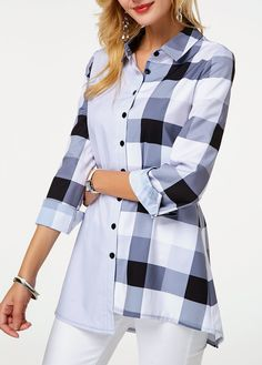 Button Up Long Sleeve Plaid Print Shirt Stylish Tops For Girls, Trendy Tops For Women, Blouses For Women, Plaid Outfits, Casual Outfits, Fashion Outfits, Fashion Clothes, Cheap Fashion, Button Up Shirts
