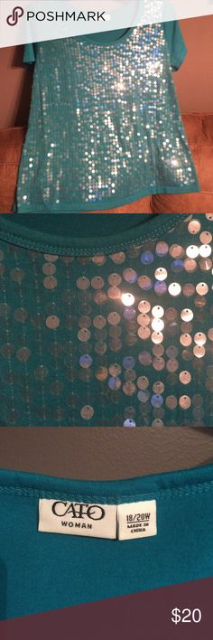 Cato sequined tee This Cato turquoise too is gorgeous!!!! It is covered completely in the front with clear sequins and has short sleeves!! Will. E posting a skirt that looks great with it! Cato Tops