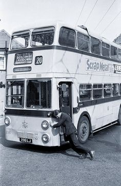 Yellow buses , Bournemouth . Trolley bus being pushed on a turning circle .                                                                                                                                                                                 More