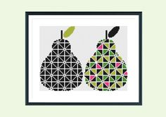 Cross stitch pattern, Pair of Pears, instant download