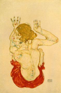 1914 Schiele Egon - Femme nue assise dans une drapery rouge de dos - Albertina - Vienne