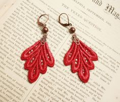lace earrings PHILLIDA red by tinaevarenee on Etsy, $22.00