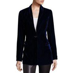 Saks Fifth Avenue Collection Velvet Boyfriend Blazer (1.175 BRL) ❤ liked on Polyvore featuring outerwear, jackets, blazers, apparel & accessories, boyfriend jacket, long sleeve blazer, boyfriend blazer jacket, fleece-lined jackets and blazer jacket