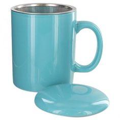 Teaz Cafe Infuser Mug with Lid - 11oz - Turquoise