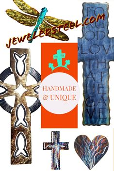 Jeweled Steel by David Broussard. David creates unique metal art using a blow torch and an airbrush for unique designs. Wall Crosses, Decor Ideas, Gift Ideas, Christian Gifts, Words Of Encouragement, Beautiful Words, Metal Art, Spiral, Christmas Ideas