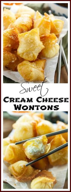 Sweet Cream Cheese Wontons Sweet Cream Cheese Wontons: Crispy Wontons fried or baked to golden perfection and filled with a sweet, two-ingredient cream cheese filling. A perfect appetizer to please all palates! Homemade Chinese Food, Healthy Chinese Recipes, Authentic Chinese Recipes, Chinese Chicken Recipes, Chinese Desserts, Healthy Recipes, Keto Chinese Food, Easy Recipes, Dairy Free Recipes Sweet
