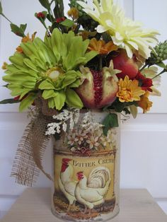 COUNTRY ROOSTER TIN Mothers Day Gift by funflorals on Etsy