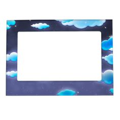 Cartoon Clouds in a Dreamy Night Sky Picture Frame Magnet