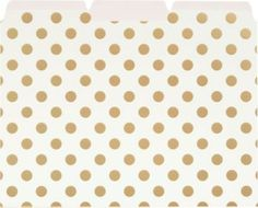kate Spade set of 6 cream file folders with gold foil dots are completed with a blush pink interior color. Size - 12 x 9 1/2
