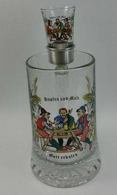 Hopfen und Malz Gott erhalts #Beer Stein and Shot Glass Set Glass Mug Cup