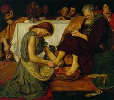 Ford Madox Brown Jesus washing Peter's feet at the Last Supper Oil on canvas 1865 Tate Gallery (London, United Kingdom) Dante Gabriel Rossetti, John Everett Millais, Works Of Mercy, Image Jesus, Maundy Thursday, Holy Thursday, Art Gallery, National Gallery, Dante Alighieri