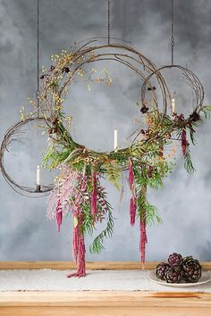 Anthropologie Hanging Circle Taper Holder **This is an affiliate link. Anthropologie Display, Anthropologie Christmas, New Years Eve Decorations, Christmas Window Decorations, Christmas Window Display Home, Christmas Store Displays, Spring Window Display, Hanging Decorations, Bohemian Christmas