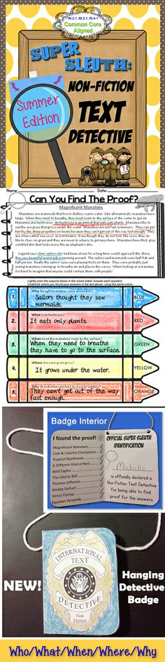 Summer Edition! Ten original non-fiction text passages with who/what/when/where/why questions. Students use color to prove their answers have room to write out responses in complete sentences. $ #commoncore