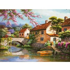 Frameless Countryside Landscape Diy Painting By Numbers Modern Home Wall Art Decor Kits Acrylic Paint For Living Room Artworks Artist Painting, Oil Painting On Canvas, Diy Painting, Online Painting, Home Wall Art, Wall Art Decor, Landscape Art, Landscape Paintings, Beautiful Paintings Of Nature
