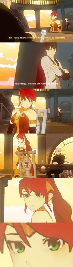 Pyrrha's face is priceless ((She's offended cuz Nora literally beat the opposing team single handedly))