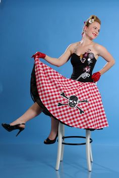 Rockabilly corset with Checked skirt by TicciRockabilly on Etsy, $110.00