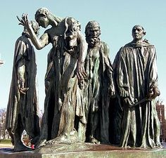 Los burgueses Calais, escultura de Rodin en el puerto francés de Calais.