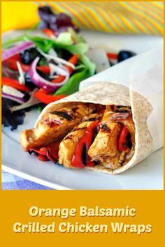 This Orange Balsamic Grilled Chicken is very simply marinated and quickly char grilled. Serve the chicken as is with rice or salad or turn it into some warm, delicious wraps.
