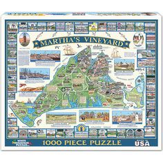 "Martha's Vineyard 1000 Piece Puzzle: This beautiful island retreat is only accessible by boat or by air. Since the 1960s, its year round population has grown significantly. Artwork by Dana Gaines. This 1000-piece jigsaw puzzle measures 24"" x 30"" when complete.  $14.99  http://www.calendars.com/Massachusetts/Marthas-Vineyard-1000-Piece-Puzzle/prod201200008862/?categoryId=cat00870=cat00870#"