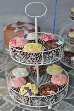 Selection of cupcakes for a 30th birthday - rose design with dragonflies, butterflies and birds