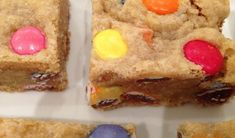 A combination of Blondie brownies and Smarties cookies, these squares freeze well (but they won't make it that far).