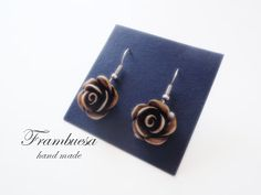 Frambuesa: Pendientes Rosa degradé marrón realizados a mano pvp 8 eur