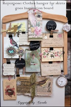 Wooden Clothes Hanger for skirts...repurposed into a clever memo/inspiration board.