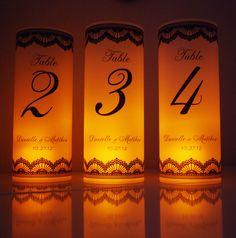 One Table Number Luminary Wedding Candle Vellum Lace Luminaries Centerpiece Decor. $2.50, via Etsy.