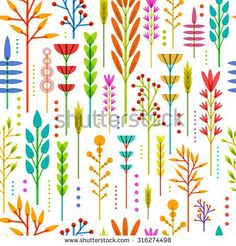 Seamless wallpaper with color, bright, vertical pattern of geometric flowers, plants, twigs, berries in a modern, Scandinavian, ethnic style. Vector.