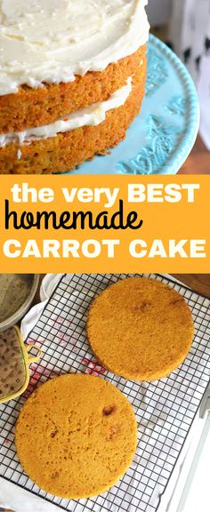 Easy, Simple, Homemade Carrot Cake just like Grandma made! A simple recipe that uses fresh carrots. Topped with cream cheese frosting, this carrot cake is the best there is! Homemade Carrot Cake, Easy Carrot Cake, Homemade Cake Recipes, Easy Desserts, Dessert Recipes, Salty Cake, Savoury Cake, The Best, Cupcake Cakes