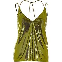 Metallic green strappy cami $44.00
