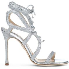 Chelsea Paris Sandals ($465) ❤ liked on Polyvore featuring shoes, sandals, silver, laced shoes, glitter sandals, spiked heel shoes, laced sandals and glitter shoes