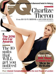 Actress Charlize Theron looked sexy on the cover of British GQ magazine. She struck several sexy poses for the May issue of the magazine. More photos after the cut… READ ALSO: D'banj unveils new hot photos Charlize Theron, Gary Oldman, Bryan Cranston, Martin Scorsese, Jennifer Aniston, Mad Max, Fury Road, Enrico Macias, Gq Magazine Covers