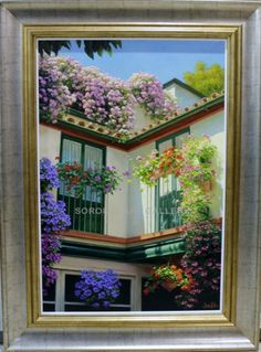 Jesús Fernández : Patio with balconies Medium: Oil on canvas Measurements (cm): 104x77 Canvas measurements (cm): 81x54. Magnificent painting outstanding for its good colouring and the excellent brushwork as is characteristic in all this artist's oil paintings. $2057.