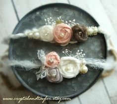 Set of Two Headbands Newborn Tiebacks Baby Girl Flower