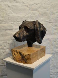 Bronze Dog sculpture by artist Joseph Hayton titled: 'Weimaraner Portrait bronze Head/Bust sculpture/statue'
